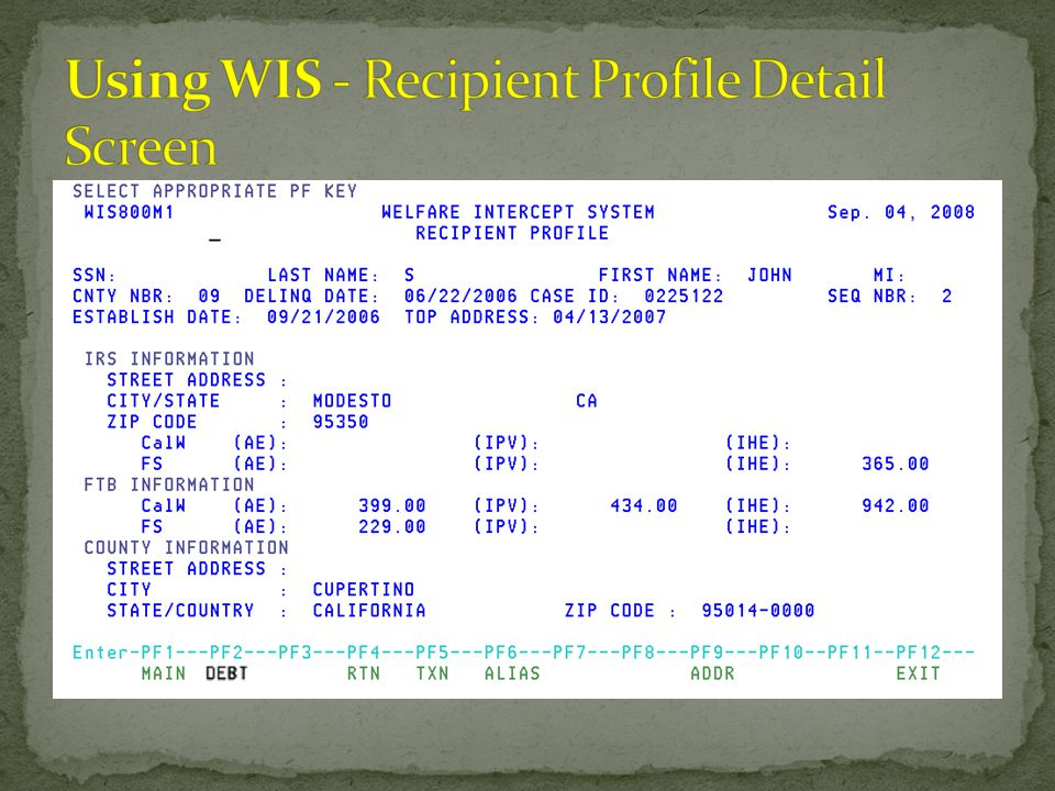 Using WIS - Recipient Profile Detail Screen