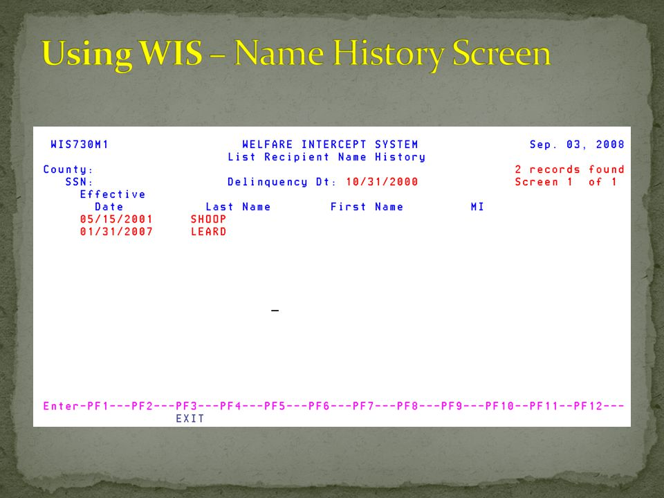 Using WIS – Name History Screen