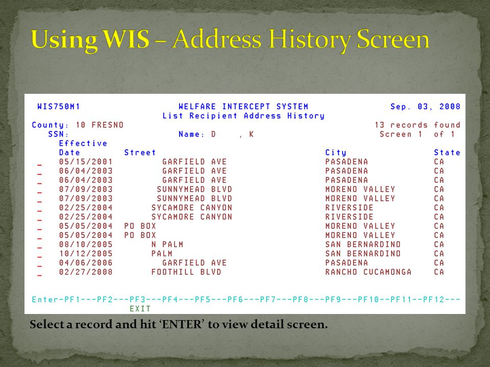 Using WIS – Address History Screen