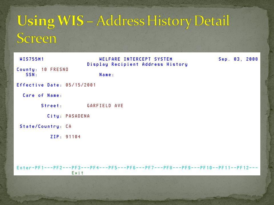 Using WIS – Address History Detail Screen