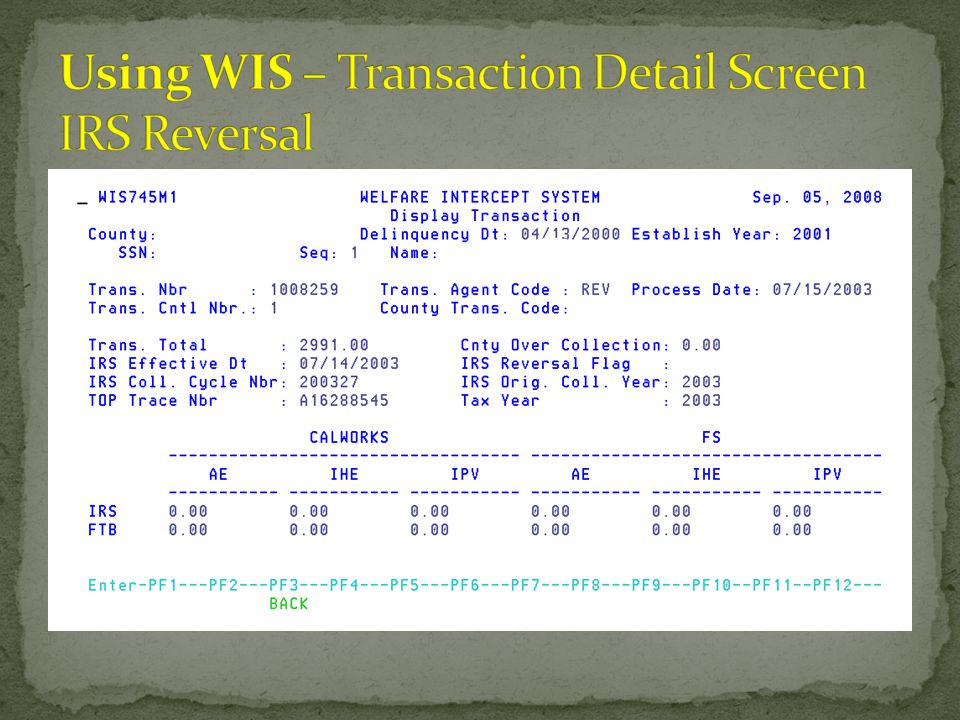 Using WIS – Transaction Detail Screen IRS Reversal