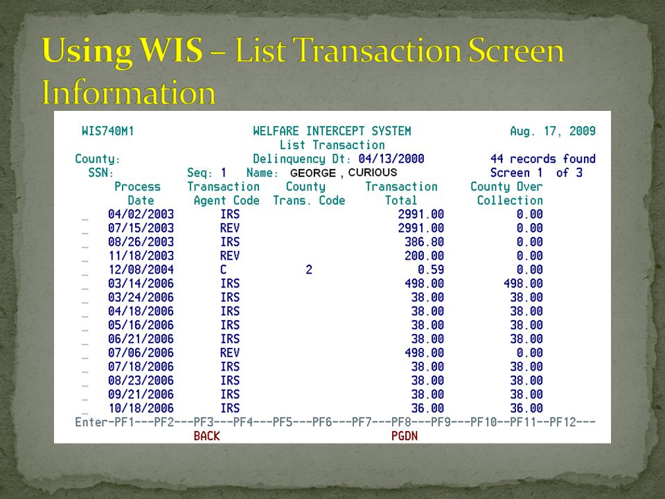 Using WIS – List Transaction Screen Information