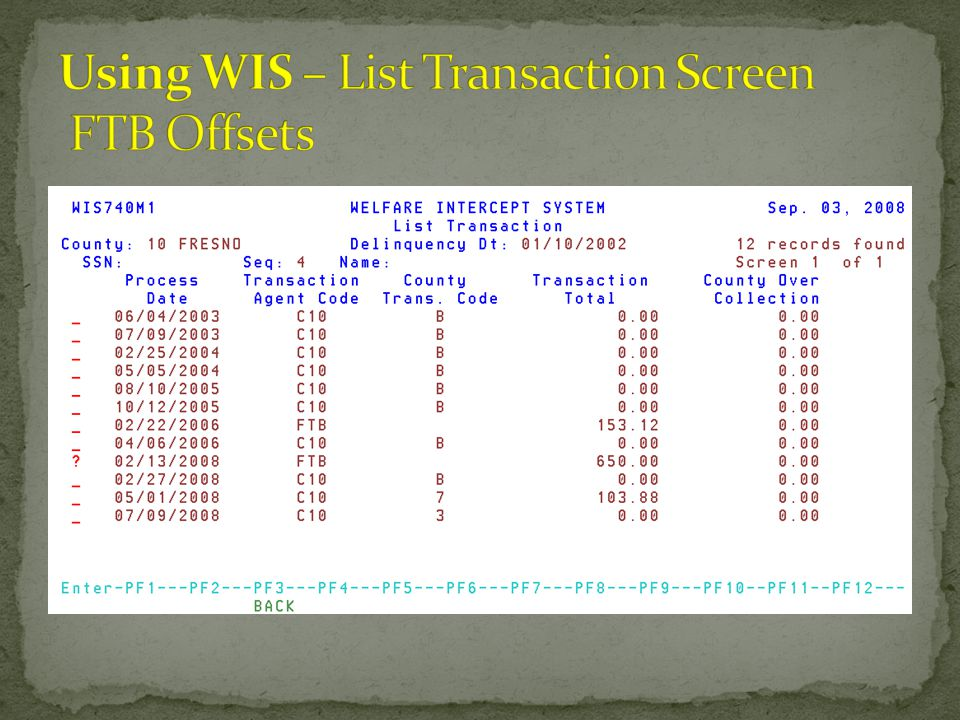 Using WIS – List Transaction Screen