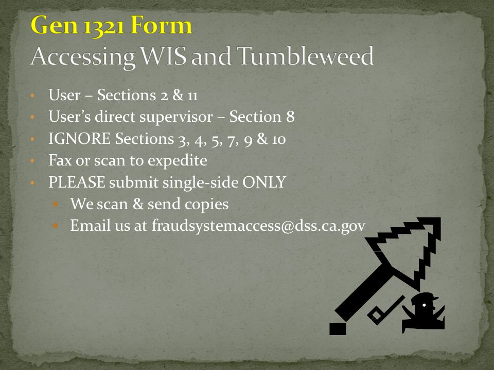 Gen 1321 Form Accessing WIS and Tumbleweed