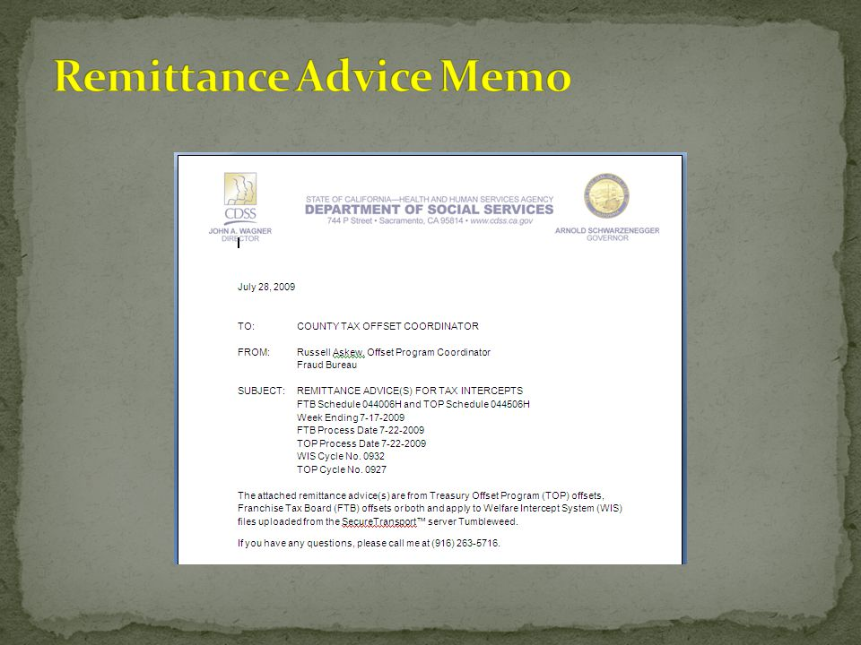 Remittance Advice Memo