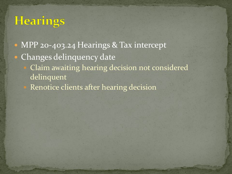 Hearings MPP 20-403.24 Hearings & Tax intercept