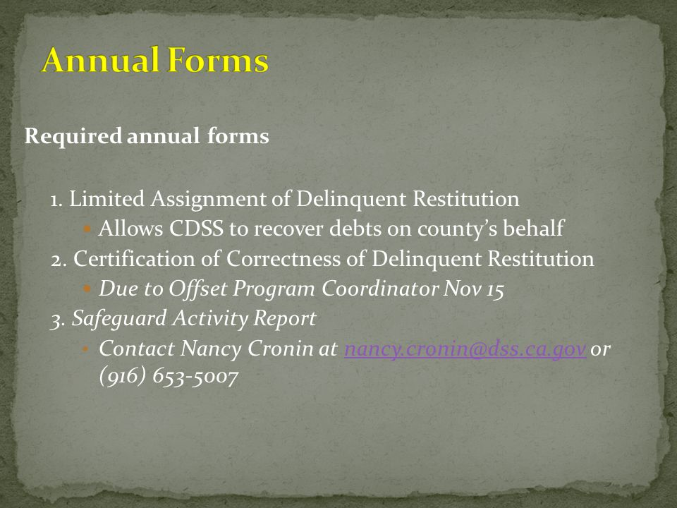 Annual Forms Required annual forms