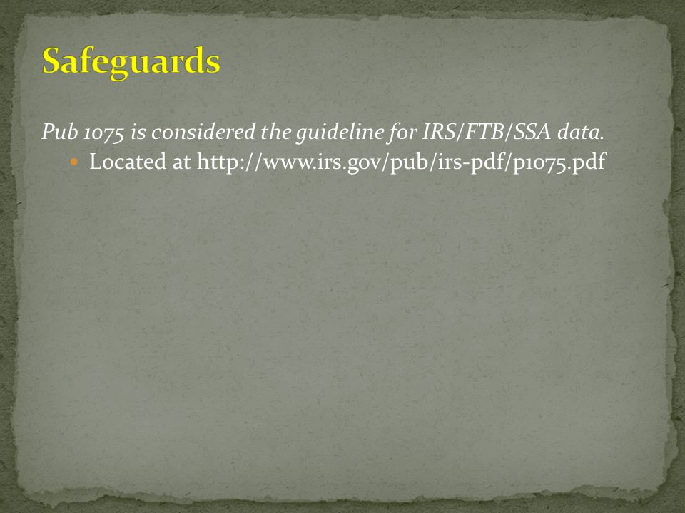 Safeguards Pub 1075 is considered the guideline for IRS/FTB/SSA data.