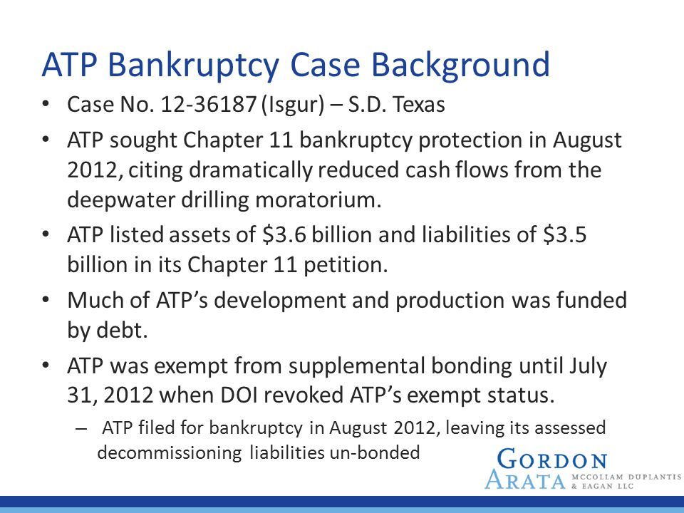 ATP Bankruptcy Case Background