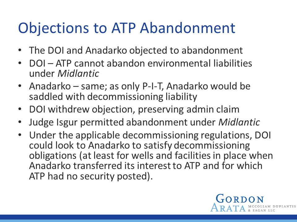 Objections to ATP Abandonment