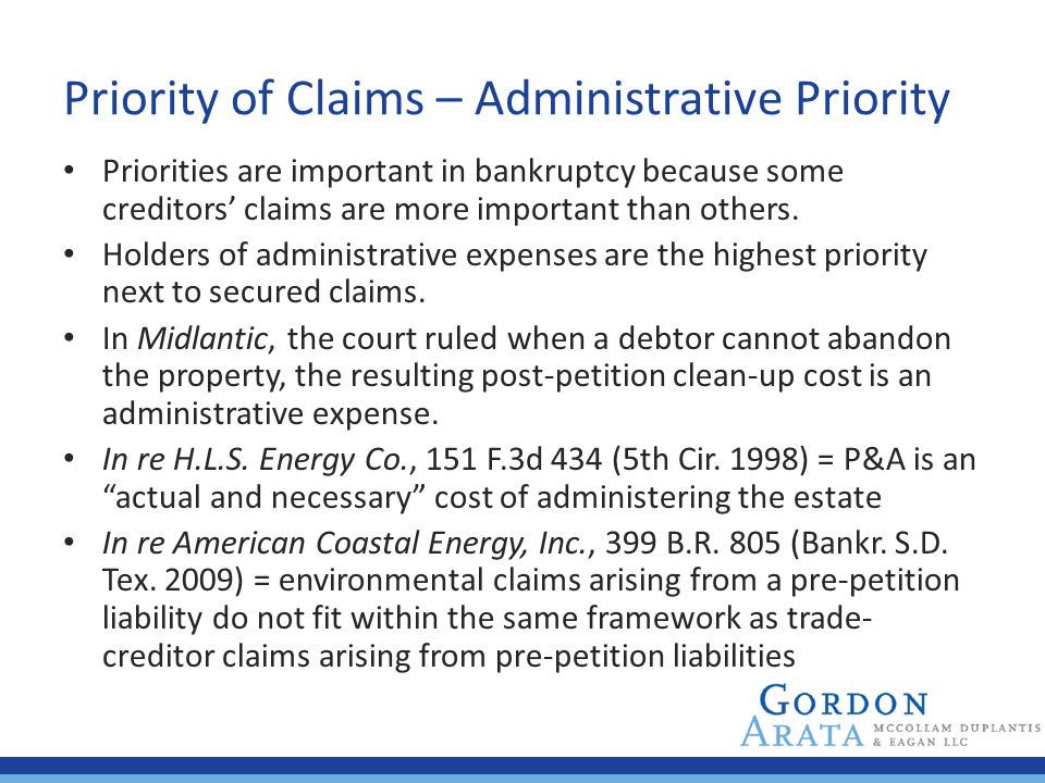 Priority of Claims – Administrative Priority