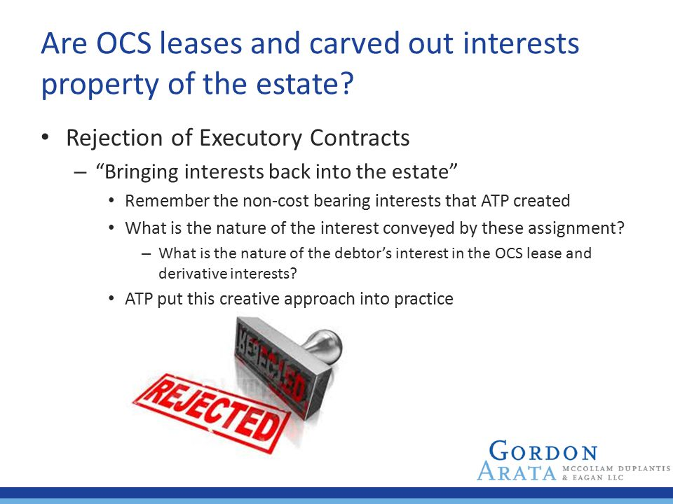Are OCS leases and carved out interests property of the estate