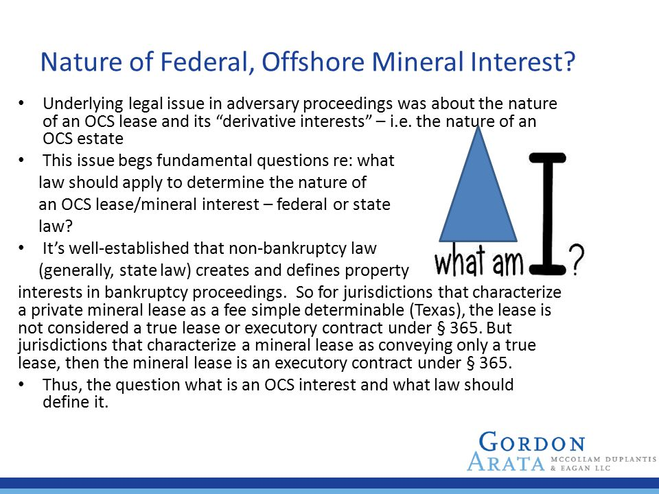 Nature of Federal, Offshore Mineral Interest