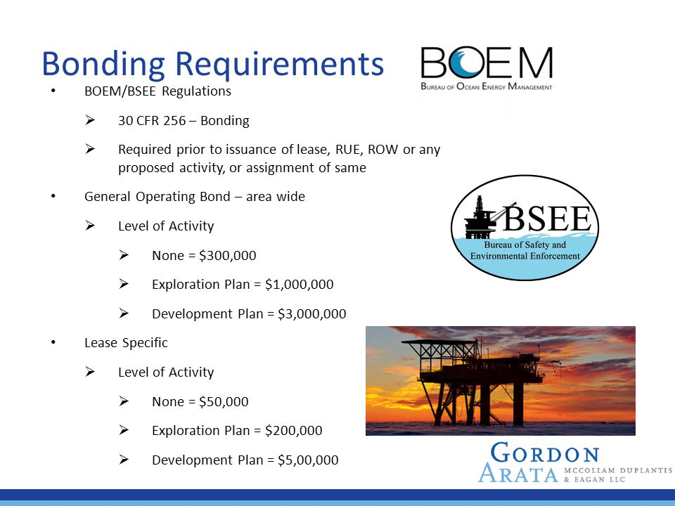 Bonding Requirements BOEM/BSEE Regulations 30 CFR 256 – Bonding