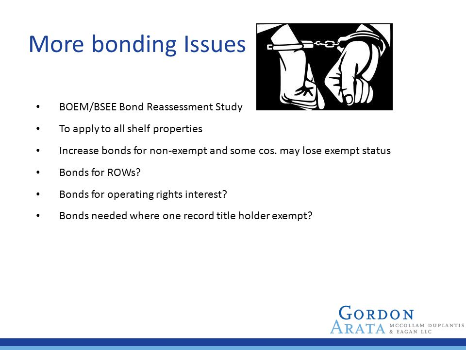 More bonding Issues BOEM/BSEE Bond Reassessment Study