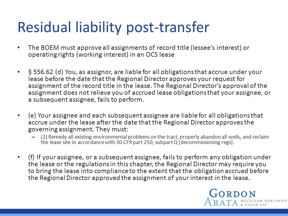 Residual liability post-transfer