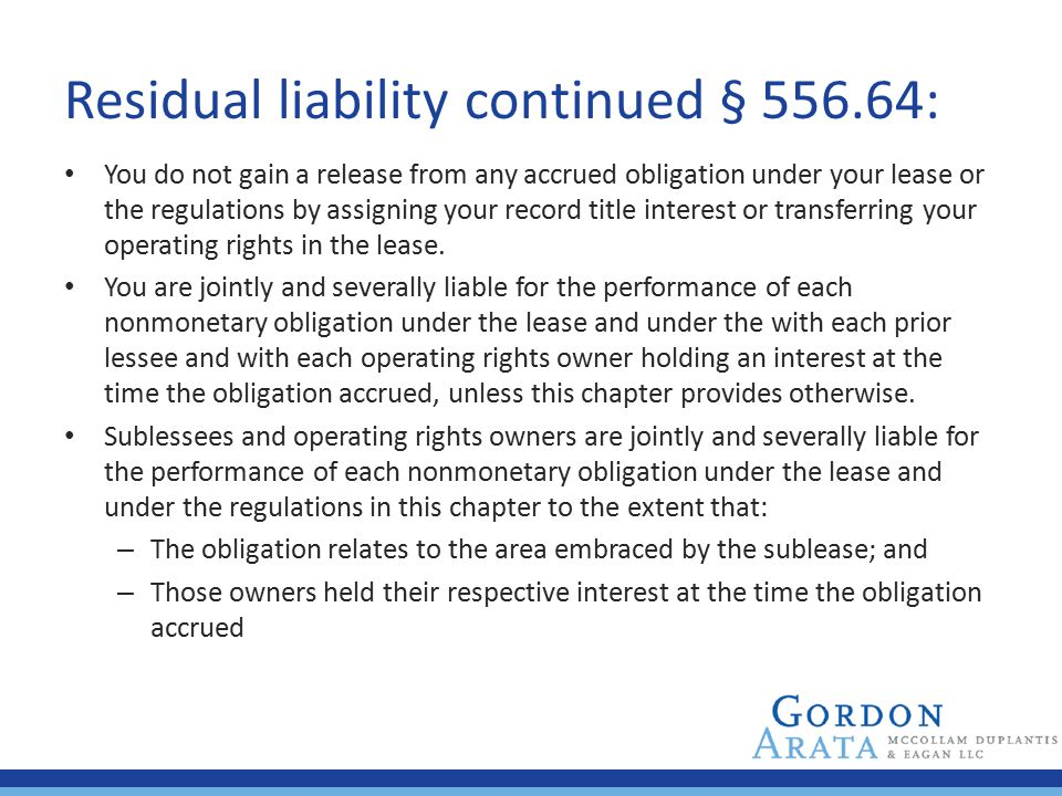 Residual liability continued § 556.64: