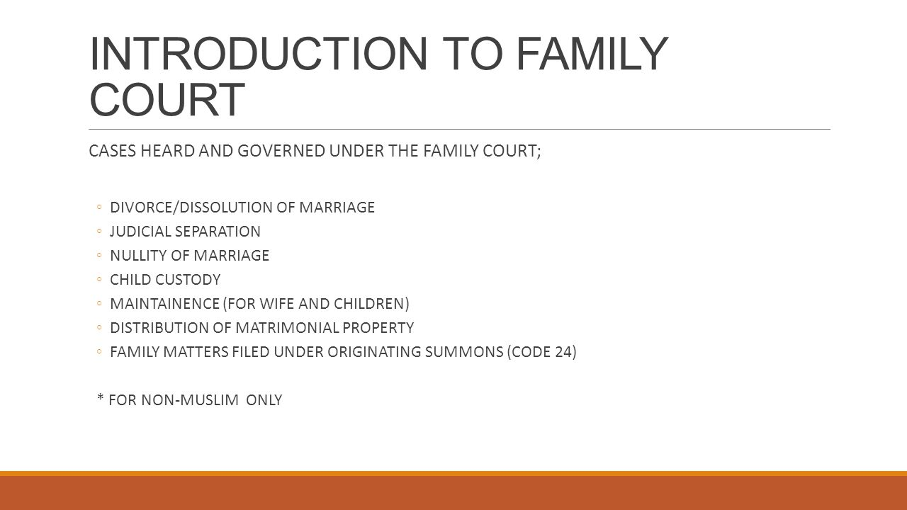 INTRODUCTION TO FAMILY COURT