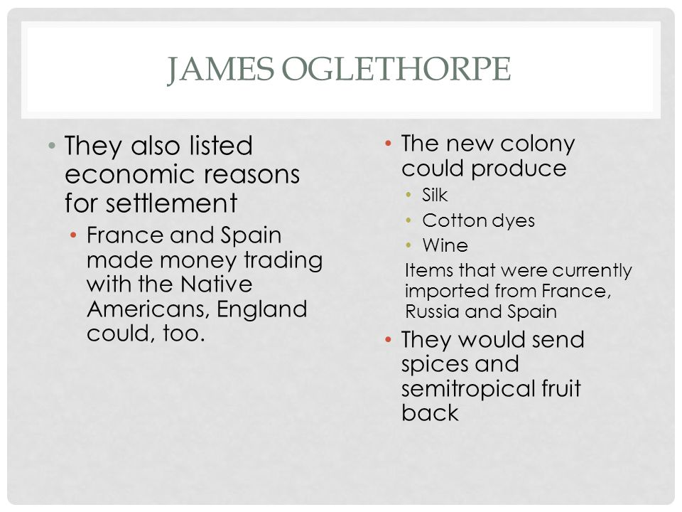 James Oglethorpe They also listed economic reasons for settlement