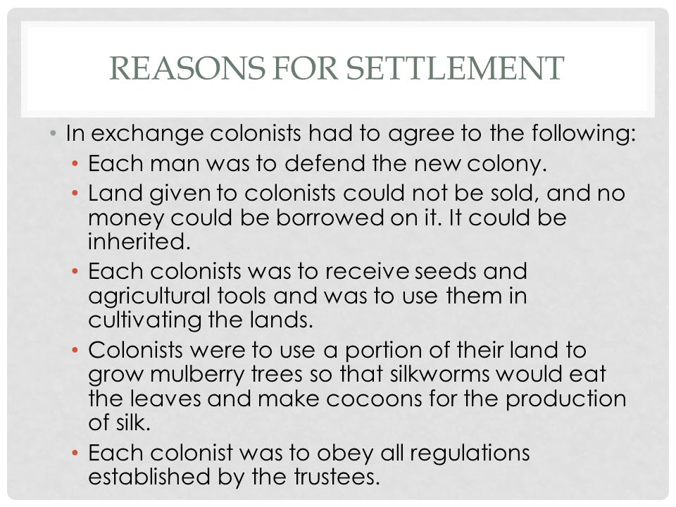 Reasons for Settlement