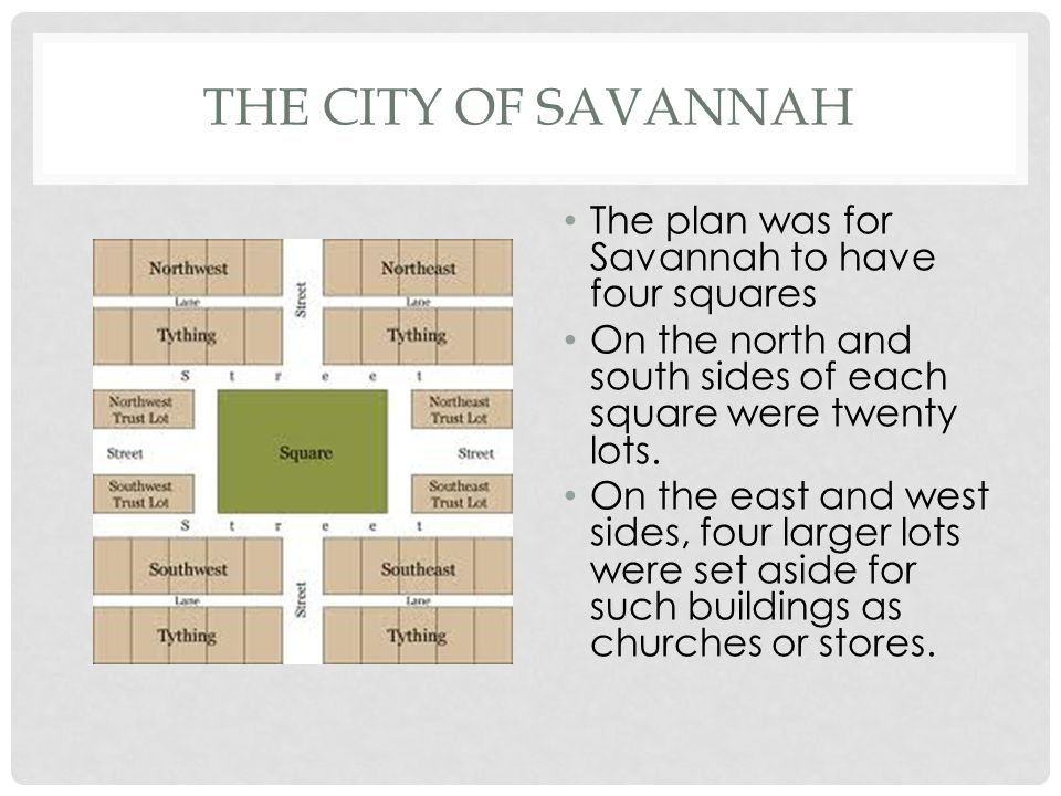 The City of Savannah The plan was for Savannah to have four squares