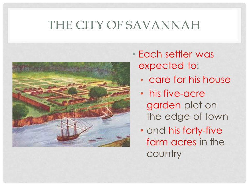 The City of Savannah Each settler was expected to: