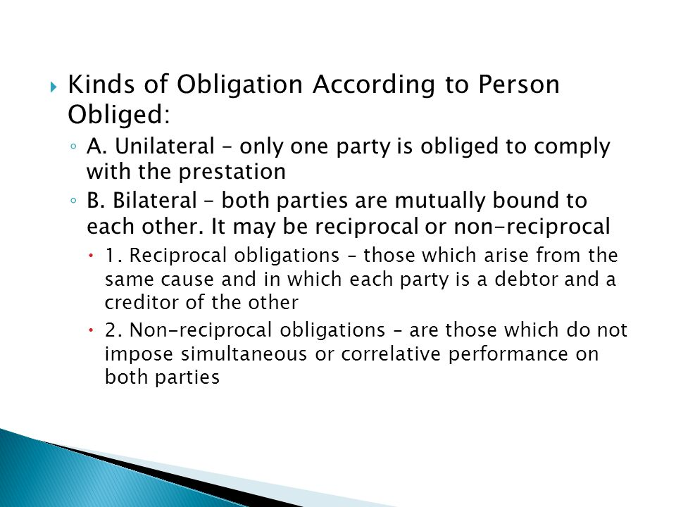 Kinds of Obligation According to Person Obliged: