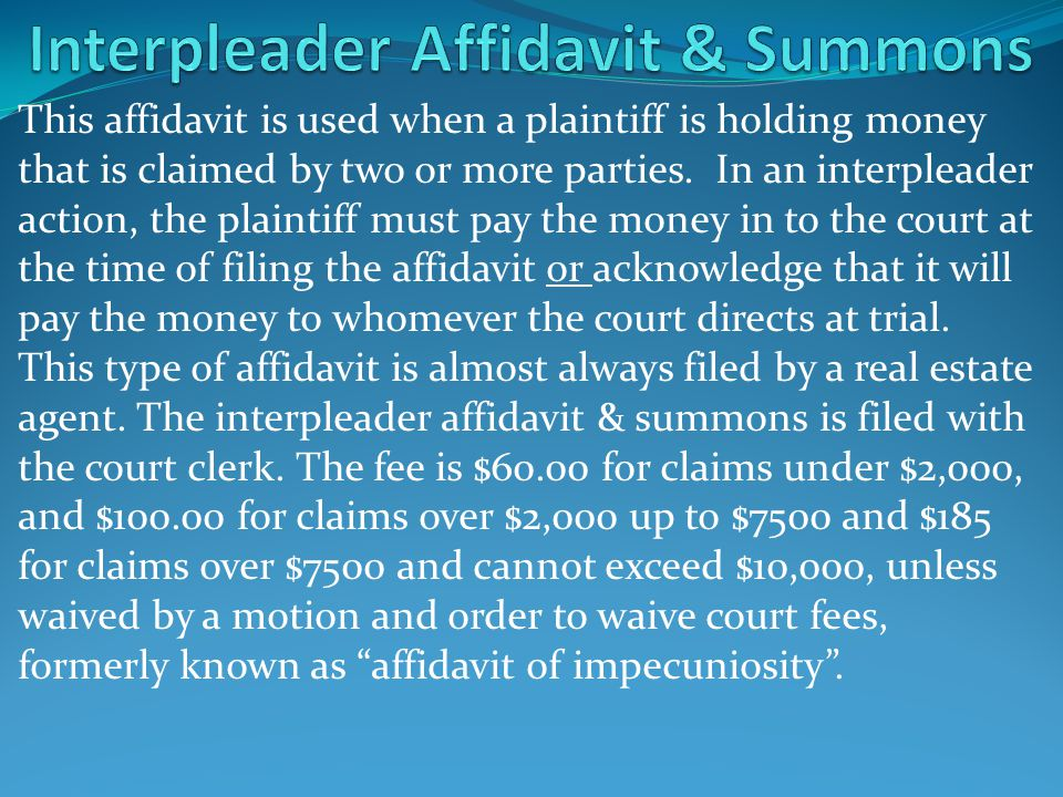 Interpleader Affidavit & Summons