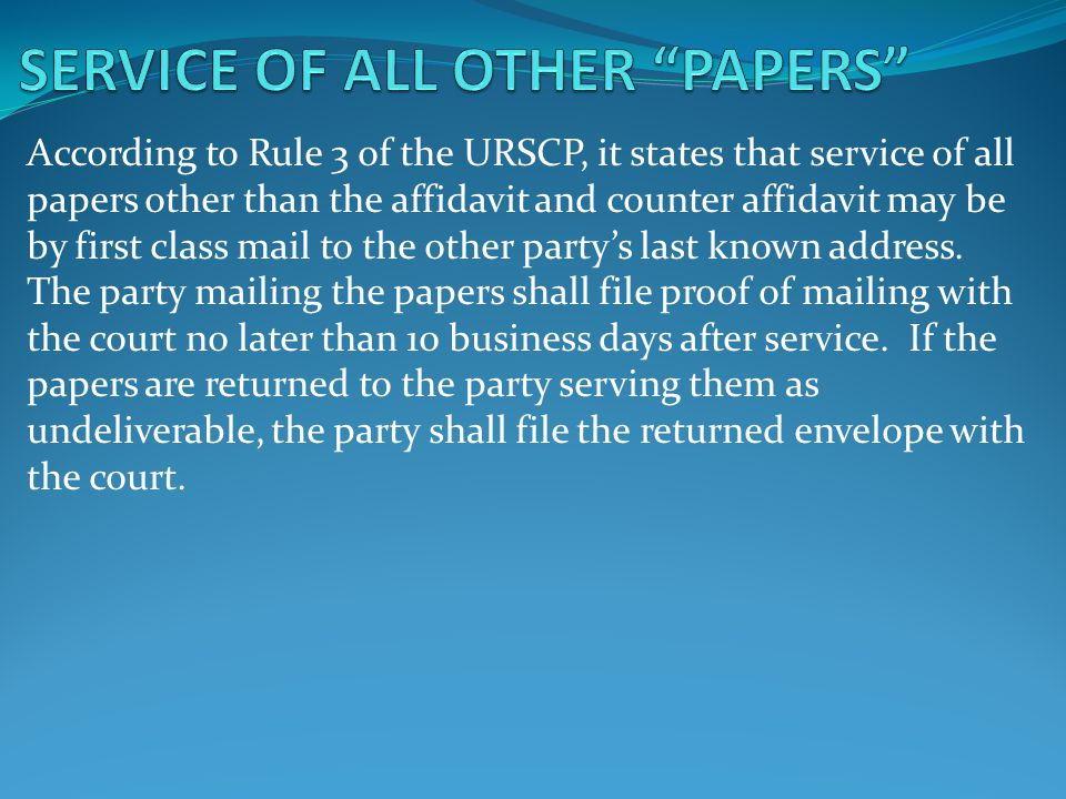 SERVICE OF ALL OTHER PAPERS