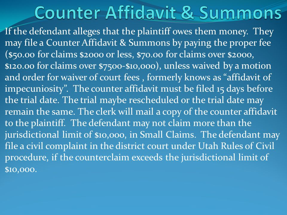 Counter Affidavit & Summons