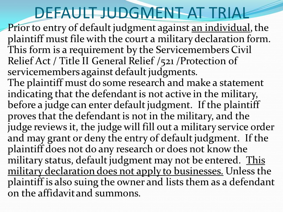 DEFAULT JUDGMENT AT TRIAL