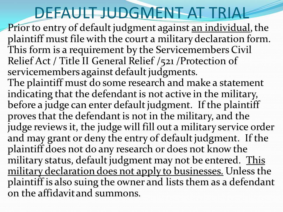 DEFAULT JUDGMENT AT TRIAL