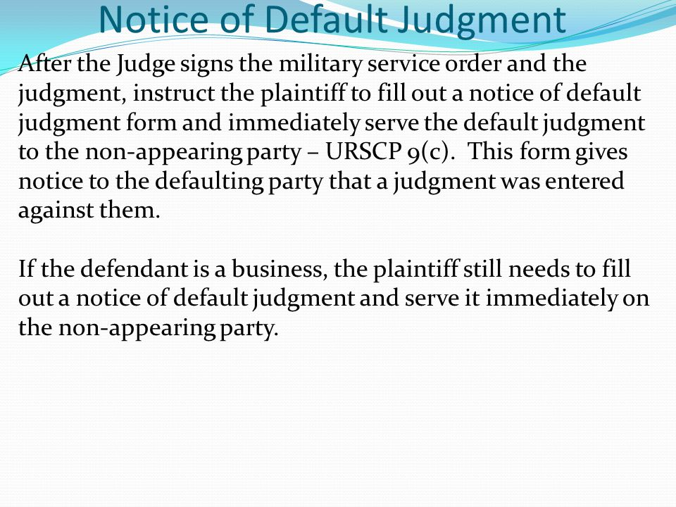 Notice of Default Judgment