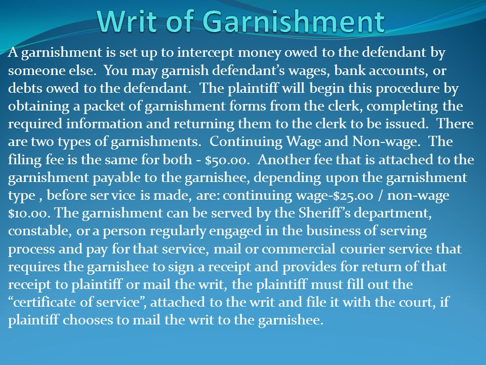 Writ of Garnishment