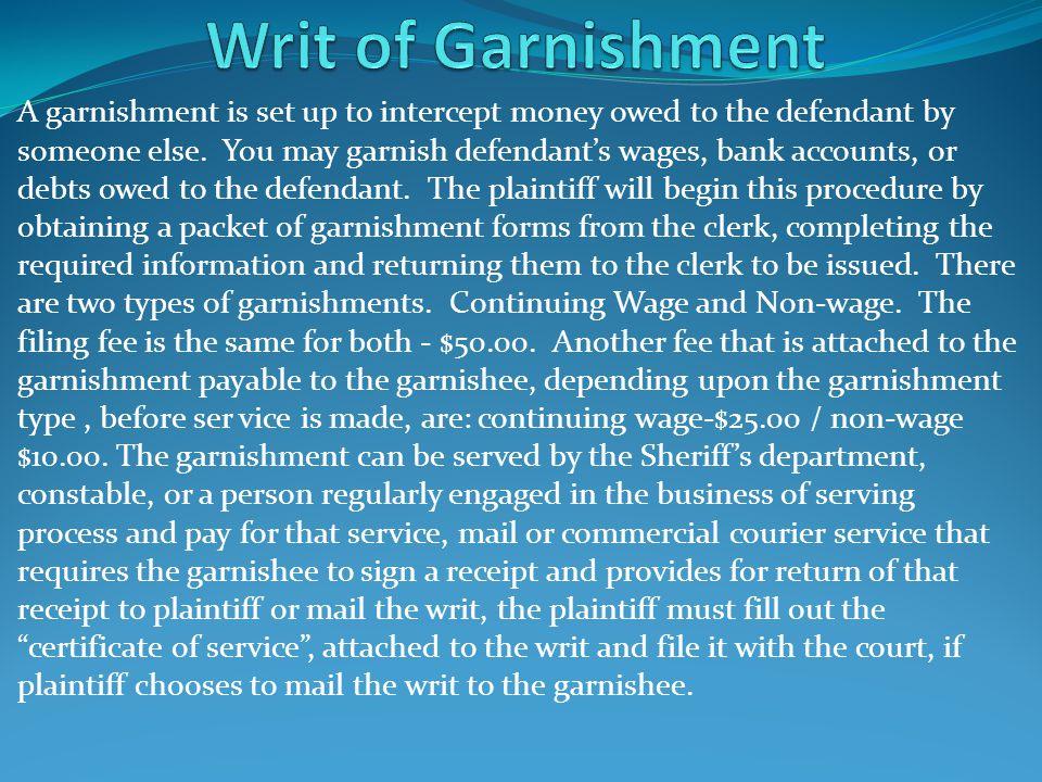 Writ of Garnishment