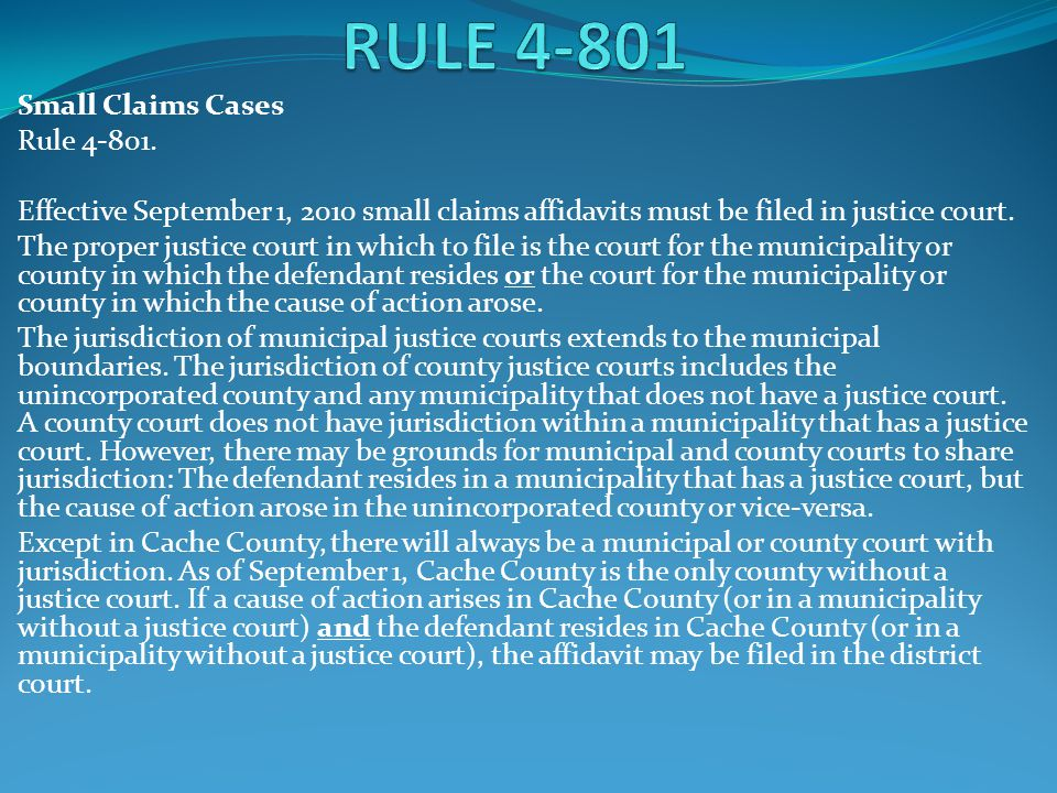 RULE 4-801 Small Claims Cases Rule 4-801.