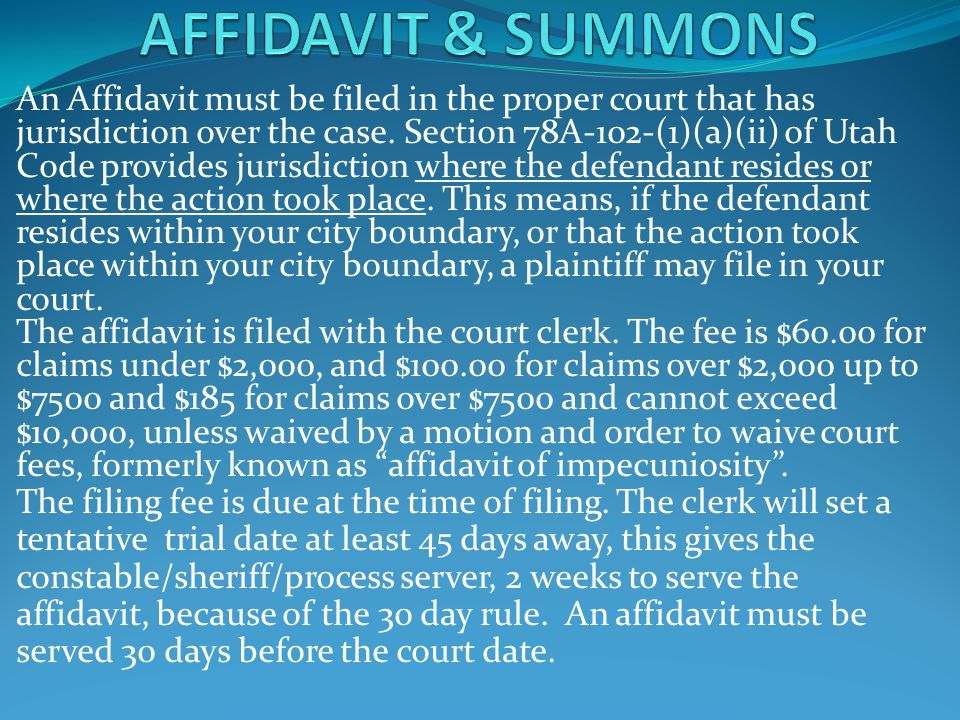 AFFIDAVIT & SUMMONS
