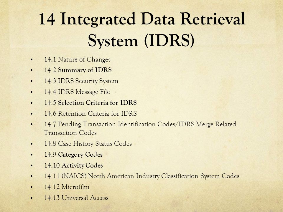 14 Integrated Data Retrieval System (IDRS)
