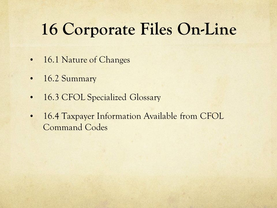 16 Corporate Files On-Line