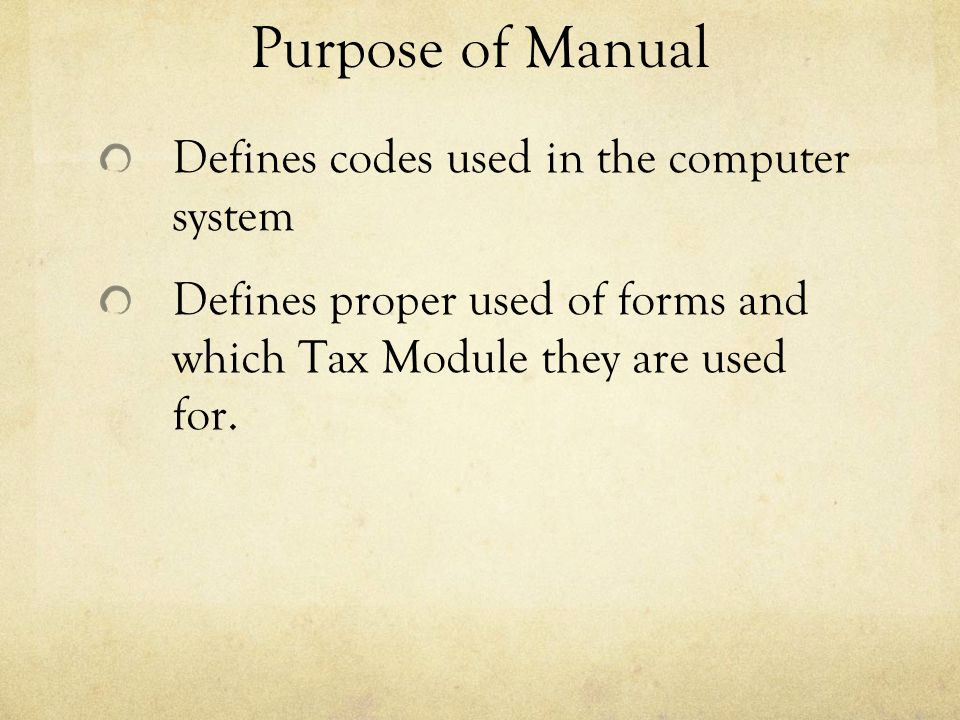 Purpose of Manual Defines codes used in the computer system