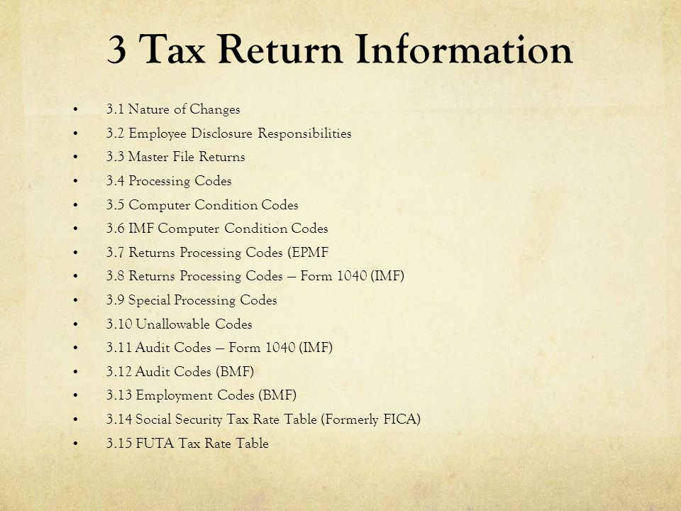 3 Tax Return Information