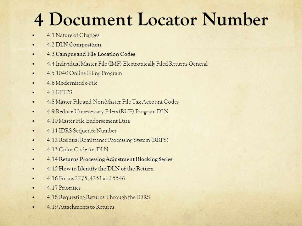 4 Document Locator Number
