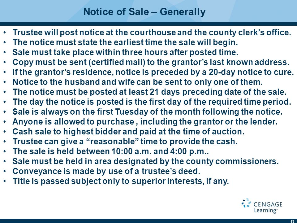 Notice of Sale – Generally