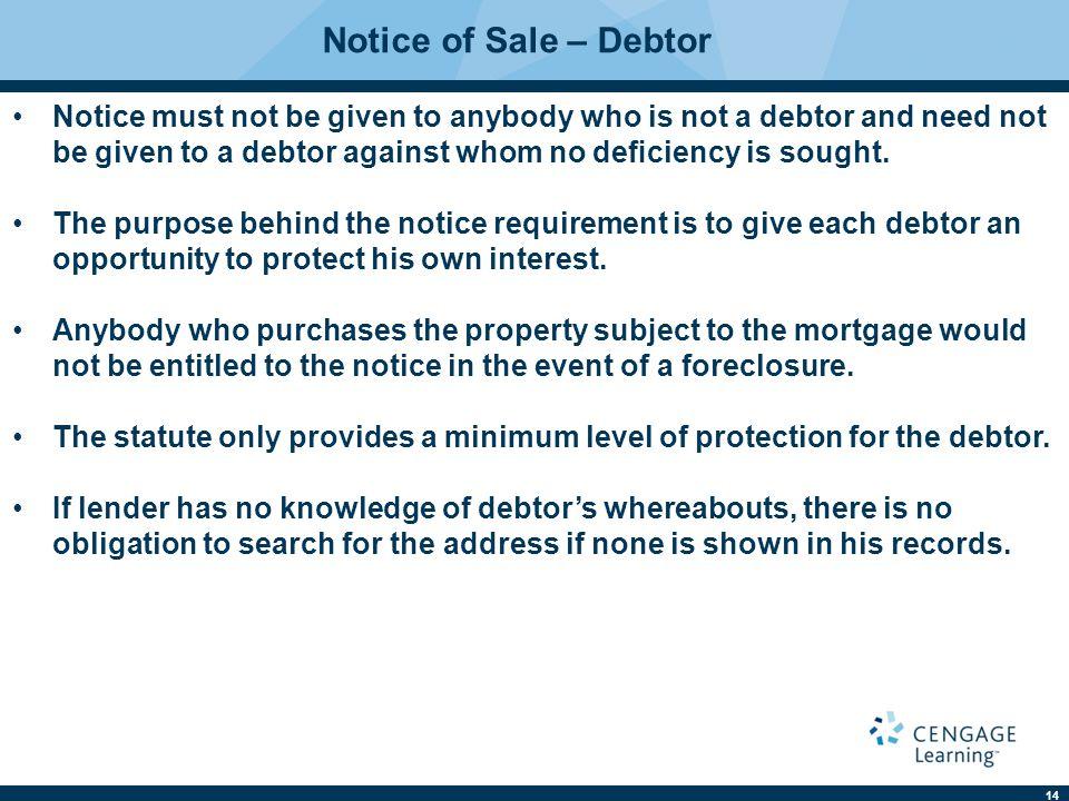 Notice of Sale – Debtor