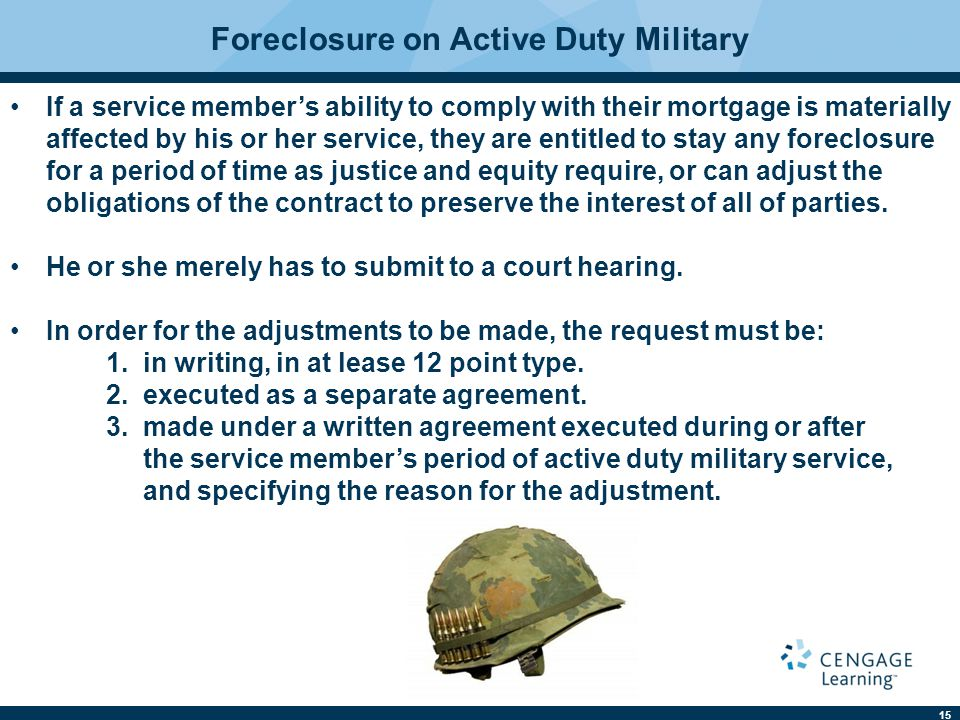 Foreclosure on Active Duty Military