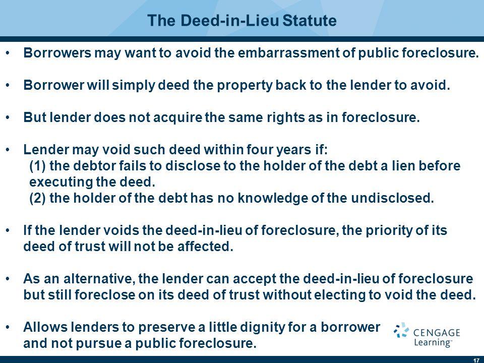 The Deed-in-Lieu Statute
