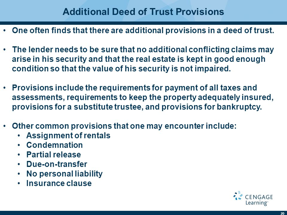 Additional Deed of Trust Provisions