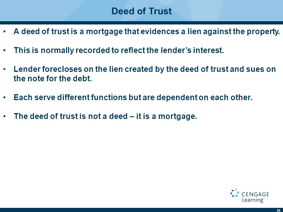Deed of Trust A deed of trust is a mortgage that evidences a lien against the property. This is normally recorded to reflect the lender's interest.