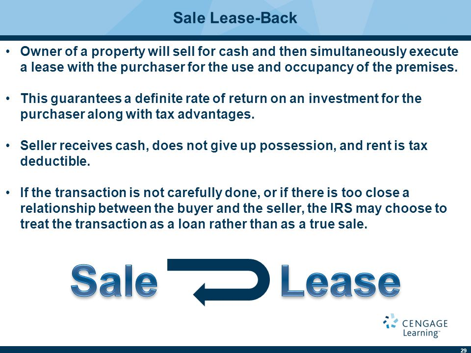 Sale Lease Sale Lease-Back