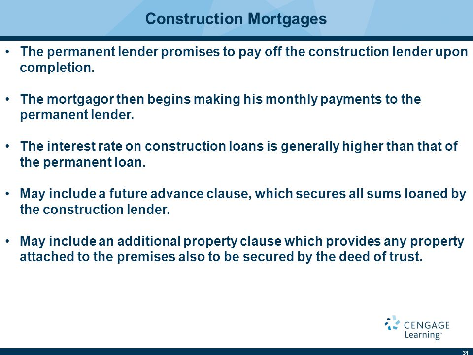 Construction Mortgages